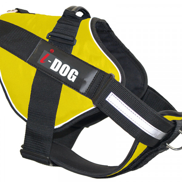 Harnais « NeoCITY » I-DOG - Jaune/Gris - Taille L