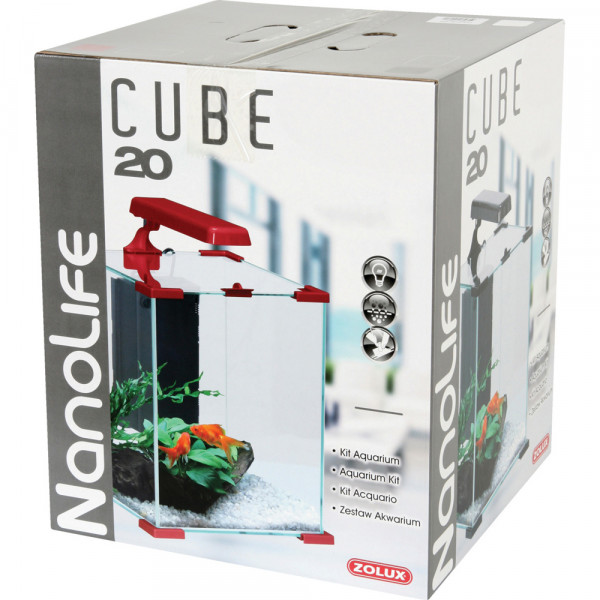 Aquarium NANOLIFE Cube 20, rouge
