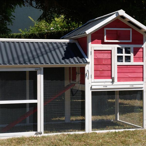 Poulailler HOUSE 2 blanc/corail toit PVC