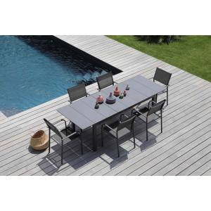 Ensemble table Tahaa et 6 fauteuils Duca gris