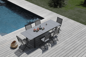 Ensemble table Tahaa et 6 chaises pliantes grises Thema