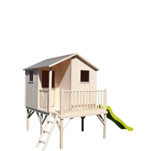 Cabane en bois pour enfant TIPHAINE AVEC TOBOGGAN