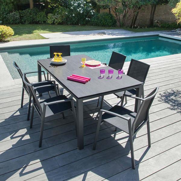 Ensemble table Stonéo et 6 fauteuils Palma