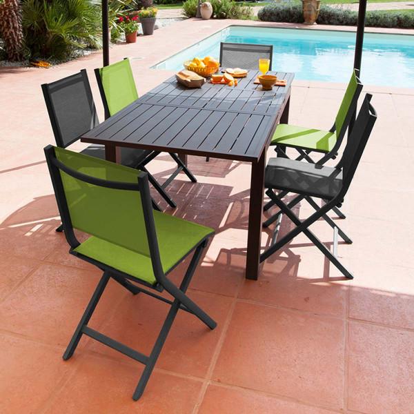 Ensemble table Trieste et 6 chaises pliantes grises Théma